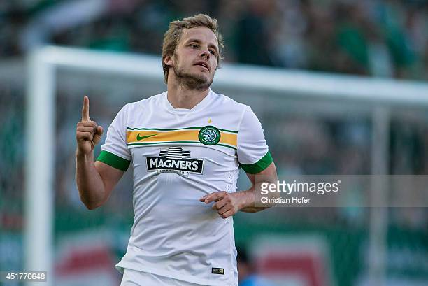Teemu Pukki of Celtic Glasgow celebrates after scoring during the Pre Season Friendly between SK Rapid Wien and Celtic Glasgow at...