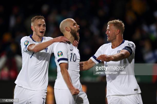 Teemu Pukki of Finland celebrates after scoring a goal to make it 3-0 during the UEFA Euro 2020 Qualifier between Finland and Liechtenstein on...