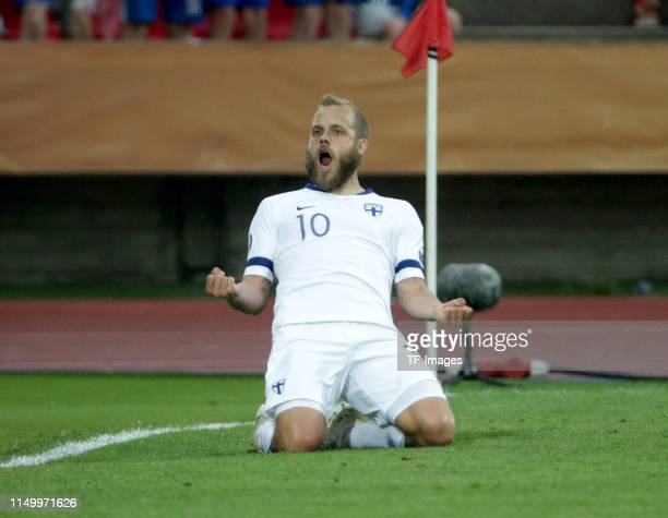 Teemu Pukki of Finland celebrates after scoring his team's first goal during the UEFA Euro 2020 Qualifier match between Finland and Bosnien...