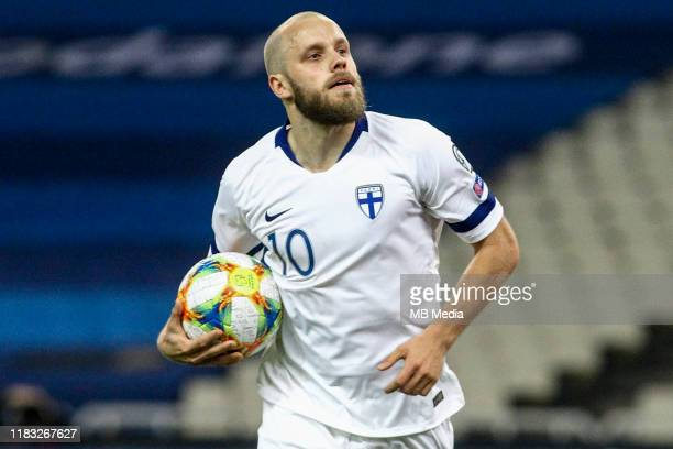 Teemu Pukki of Finland celebrates after scoring the first goal of his team during the UEFA Euro 2020 Qualifier between Greece and Finland on November...