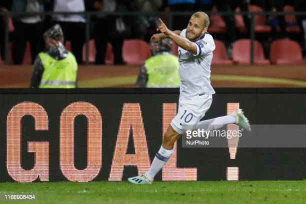 Teemu Pukki of Finland celebrates his goal during UEFA Euro 2020 qualifying match between Finland and Italy on September 8, 2019 at Ratina Stadium in...