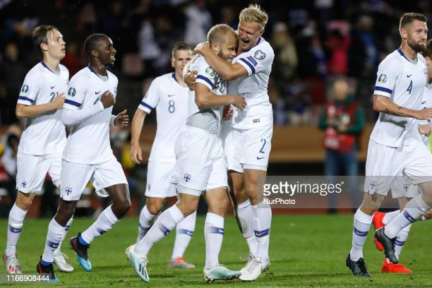 Teemu Pukki of Finland celebrates his goal with Paulus Arajuuri during UEFA Euro 2020 qualifying match between Finland and Italy on September 8, 2019...