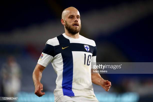 Teemu Pukki of Finland during the UEFA Nations League group stage match between Wales and Finland at Cardiff City Stadium on November 18, 2020 in...