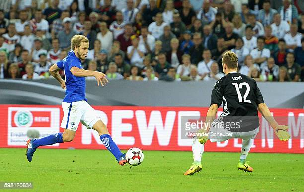Teemu Pukki of Finland in action with Bernd Leno of Germany during the International Friendly match between Germany and Finland at BorussiaPark on...
