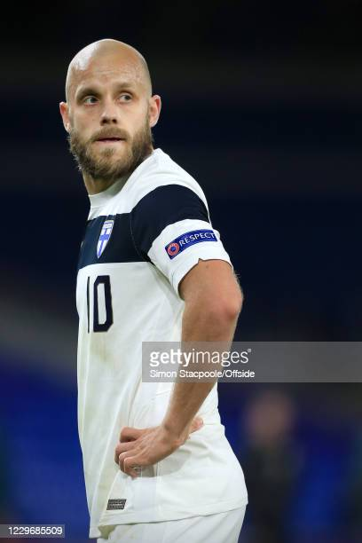 Teemu Pukki of Finland looks back during the UEFA Nations League group stage match between Wales and Finland at Cardiff City Stadium on November 18,...