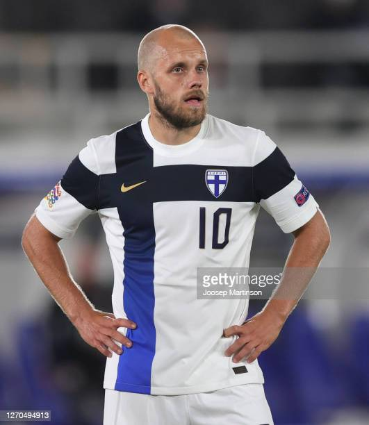 Teemu Pukki of Finland looks on during the UEFA Nations League group stage match between Finland and Wales at Helsingin Olympiastadion on September...