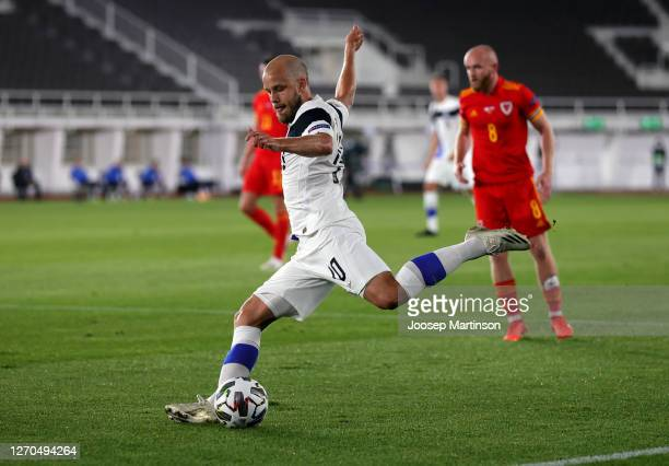 Teemu Pukki of Finland shoots during the UEFA Nations League group stage match between Finland and Wales at Helsingin Olympiastadion on September 03...