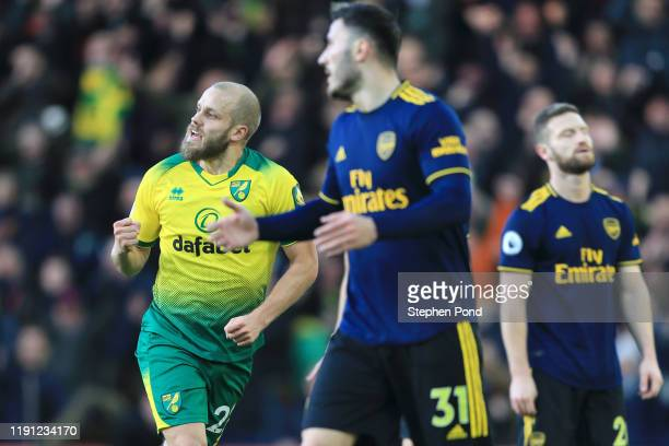 Teemu Pukki of Norwich City celebrates after scoring his sides first goal during the Premier League match between Norwich City and Arsenal FC at...