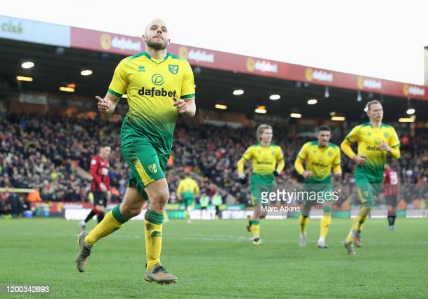 Teemu Pukki of Norwich City celebrates after scoring his sides first goal during the Premier League match between Norwich City and AFC Bournemouth at...