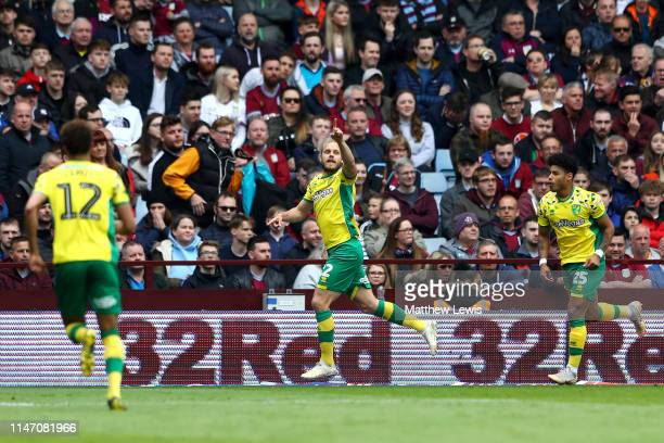 Teemu Pukki of Norwich City celebrates after scoring his team's first goal during the Sky Bet Championship match between Aston Villa and Norwich City...
