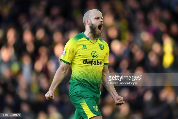 Teemu Pukki of Norwich City celebrates after scoring his team's first goal during the Premier League match between Norwich City and Arsenal FC at...