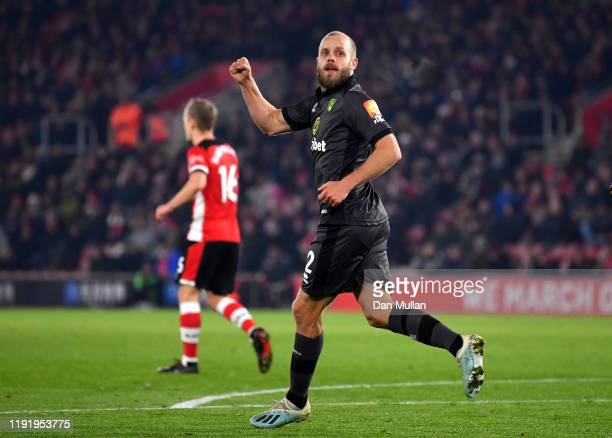 Teemu Pukki of Norwich City celebrates after scoring his team's first goal during the Premier League match between Southampton FC and Norwich City at...