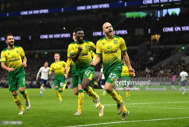 Teemu Pukki of Norwich City celebrates after scoring his team's first goal during the Premier League match between Tottenham Hotspur and Norwich City...