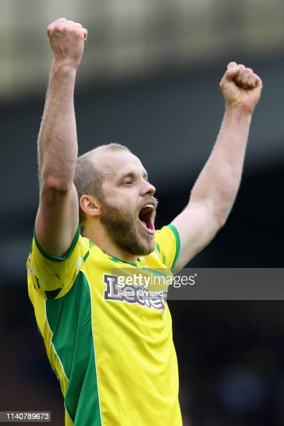 Teemu Pukki of Norwich City celebrates after scoring his team's fourth goal during the Sky bet Championship match between Norwich City and Queens...
