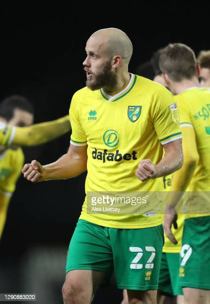 Teemu Pukki of Norwich City celebrates after scoring his team's second goal during the Sky Bet Championship match between Blackburn Rovers and...