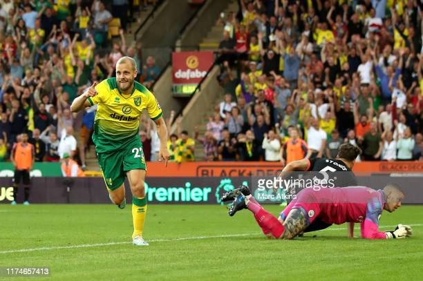 Teemu Pukki of Norwich City celebrates after scoring his team's third goal during the Premier League match between Norwich City and Manchester City...