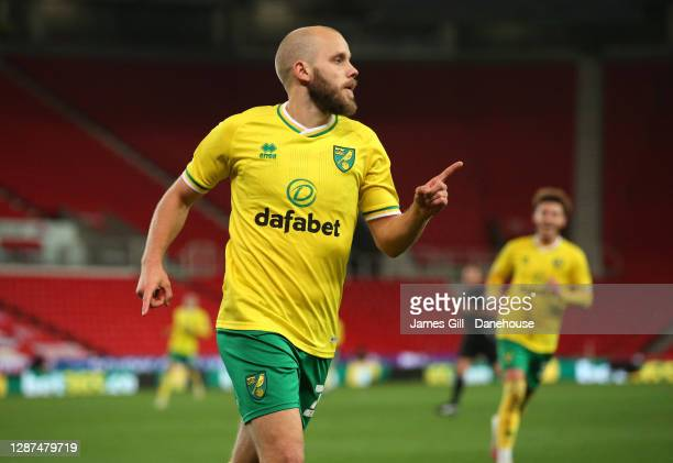 Teemu Pukki of Norwich City celebrates after scoring their second goal during the Sky Bet Championship match between Stoke City and Norwich City at...