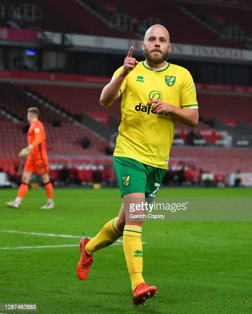 Teemu Pukki of Norwich City celebrates after scoring their team's third goal during the Sky Bet Championship match between Stoke City and Norwich...