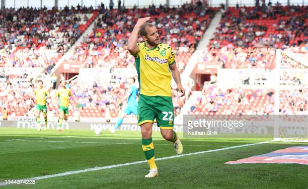 Teemu Pukki of Norwich City celebrates as he scores their second goal of the game during the Sky Bet Championship match between Stoke City and...