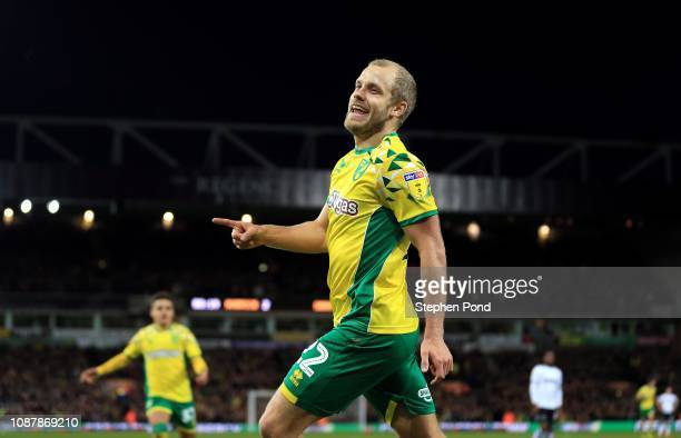 Teemu Pukki of Norwich City celebrates scoring his sides third goal during the Sky Bet Championship match between Norwich City and Derby County at...