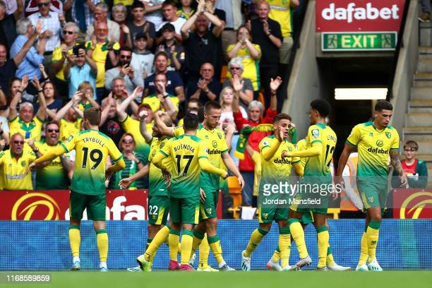 Teemu Pukki of Norwich City celebrates with team mates after scoring his team's first goal during the Premier League match between Norwich City and...