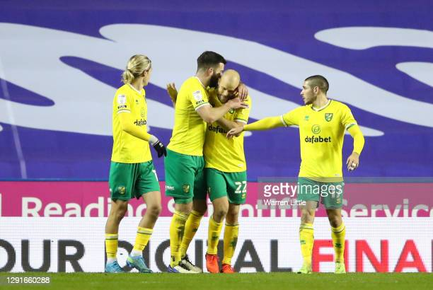 Teemu Pukki of Norwich City celebrates with teammates after scoring their team's second goal from the penalty spot during the Sky Bet Championship...