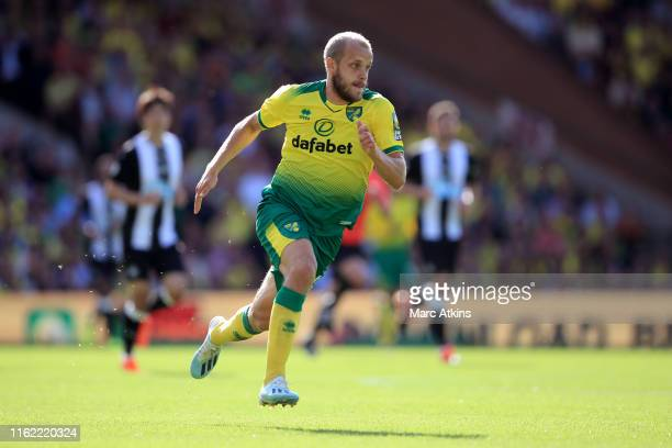 Teemu Pukki of Norwich City during the Premier League match between Norwich City and Newcastle United at Carrow Road on August 17, 2019 in Norwich,...