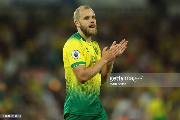 Teemu Pukki of Norwich City during the Premier League match between Norwich City and Manchester City at Carrow Road on September 14, 2019 in Norwich,...