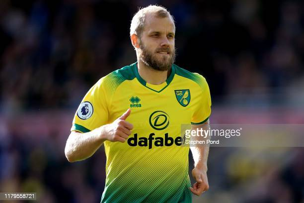 Teemu Pukki of Norwich City during the Premier League match between Norwich City and Aston Villa at Carrow Road on October 05, 2019 in Norwich,...