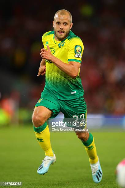 Teemu Pukki of Norwich City in action during the Premier League match between Liverpool FC and Norwich City at Anfield on August 09 2019 in Liverpool...