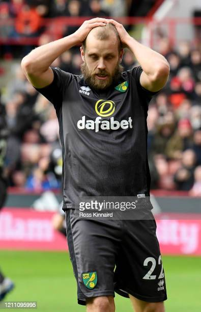 Teemu Pukki of Norwich City in action during the Premier League match between Sheffield United and Norwich City at Bramall Lane on March 07 2020 in...