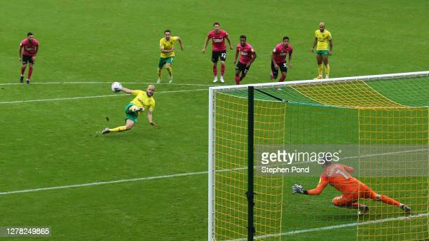 Teemu Pukki of Norwich City misses a penalty during the Sky Bet Championship match between Norwich City and Derby County at Carrow Road on October...