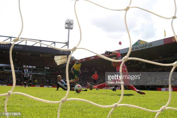 Teemu Pukki of Norwich City scores his 3rd goal during the Premier League match between Norwich City and Newcastle United at Carrow Road on August...