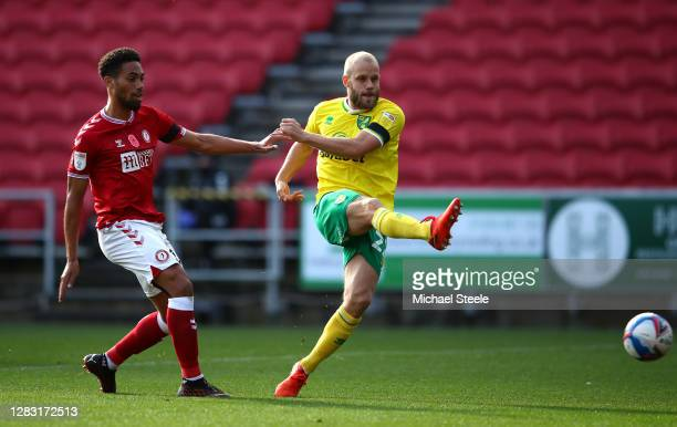 Teemu Pukki of Norwich City scores his team's first goal during the Sky Bet Championship match between Bristol City and Norwich City at Ashton Gate...