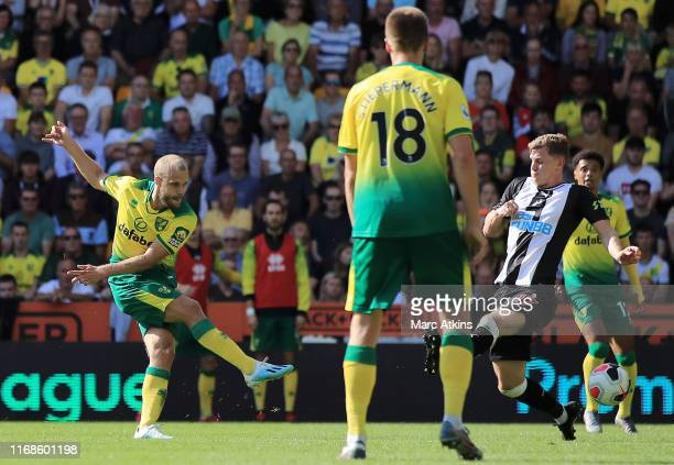 Teemu Pukki of Norwich City scores his team's second goal during the Premier League match between Norwich City and Newcastle United at Carrow Road on...