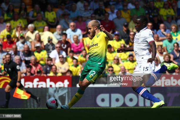 Teemu Pukki of Norwich City scores his team's second goal during the Premier League match between Norwich City and Chelsea FC at Carrow Road on...