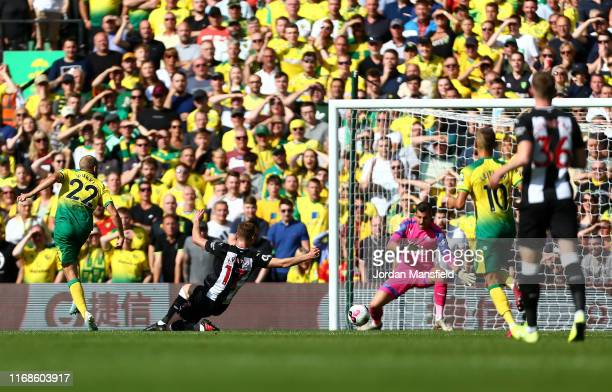 Teemu Pukki of Norwich City scores his team's third goal during the Premier League match between Norwich City and Newcastle United at Carrow Road on...