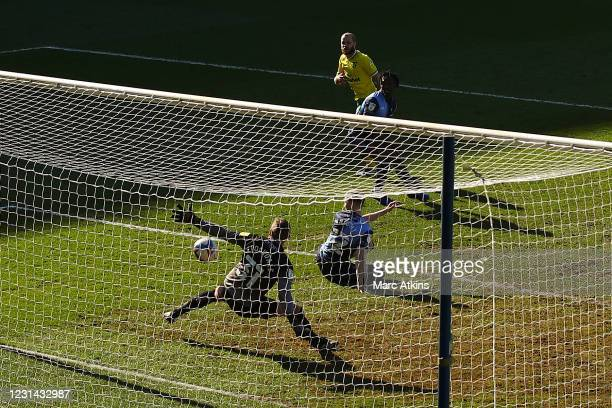 Teemu Pukki of Norwich City scores the opening goal during the Sky Bet Championship match between Wycombe Wanderers and Norwich City at Adams Park on...