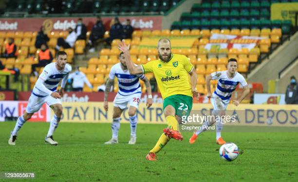 Teemu Pukki of Norwich City scores their team's first goal from the penalty spot during the Sky Bet Championship match between Norwich City and...