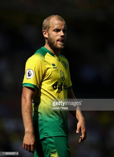 Teemu Pukki of Norwich looks on during the Premier League match between Norwich City and Chelsea FC at Carrow Road on August 24 2019 in Norwich...