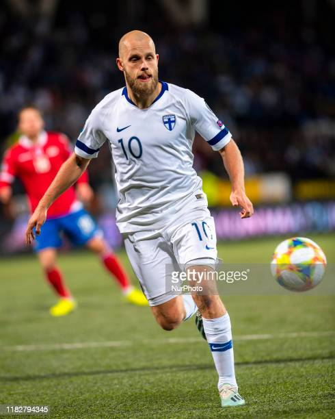 Teemu Pukki with the ball during the UEFA Euro 2020 Qualifier between Finland and Liechtenstein on November 15, 2019 in Helsinki, Finland.