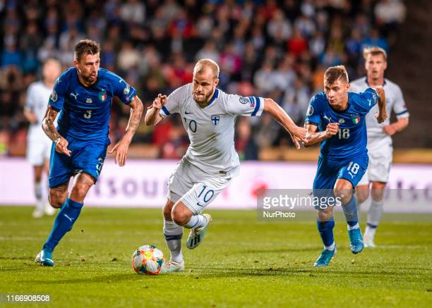 Teemu Pukki with the ball during the UEFA Euro Qualifiers Group J Finland vs Italy football qualifying round match at Tampere Stadium in Tampere,...