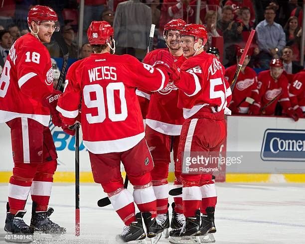Teemu Pulkkinen of the Detroit Red Wings celebrates his first NHL goal with teammates Stephen Weiss Joakim Andersson and Xavier Ouellet during a NHL...