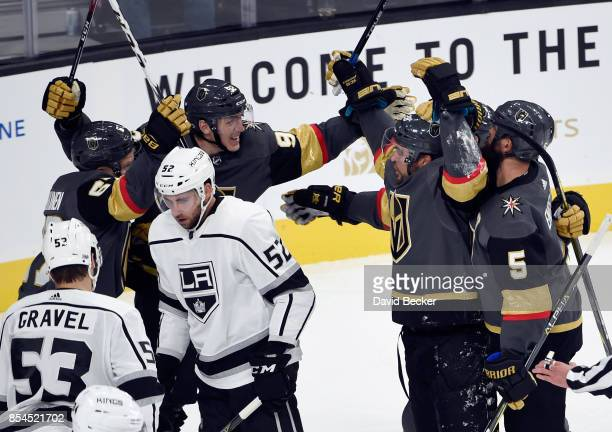 Teemu Pulkkinen Tomas Nosek William Carrier and Deryk Engelland of the Vegas Golden Knights celebrate a goals against Kevin Gravel and Michael Amadio...