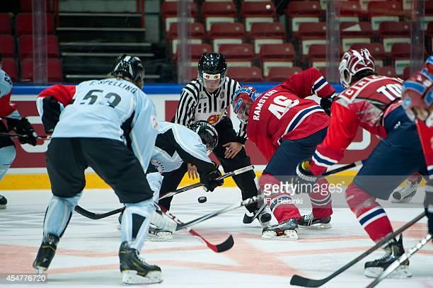 Teemu Ramstedt of IFK Helsinki faces off during the Champions Hockey League group stage game between IFK Helsinki and Sonderjyske Vojens on September...