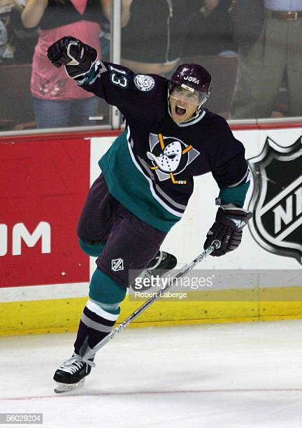 Teemu Selanne celebrates scoring his second goal of the game during the third period against the St. Louis Blues at the Arrowhead Pond of Anaheim...