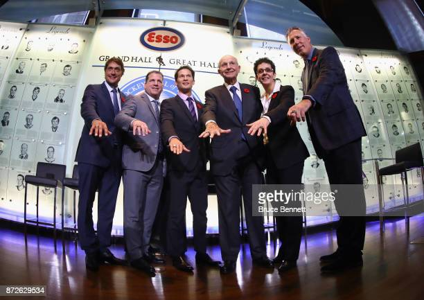 Teemu Selanne Mark Recchi Paul KariyaJeremy Jacobs Danielle Goyette and Dave Andreychuk take part in a media opportunity at the Hockey Hall Of Fame...