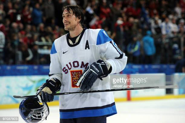 Teemu Selanne of Finland celebrates after their 2-0 win during the ice hockey men's quarter final game between Finland and the Czech Republic on day...