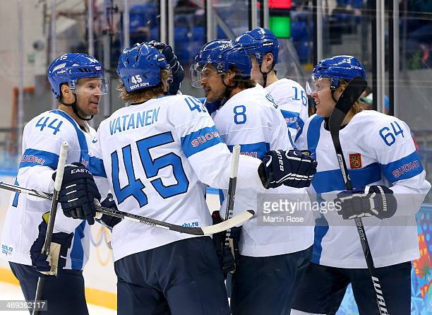 Teemu Selanne of Finland celebrates scoring a goal in the first period against Norway during the Men's Ice Hockey Preliminary Round Group B game on...