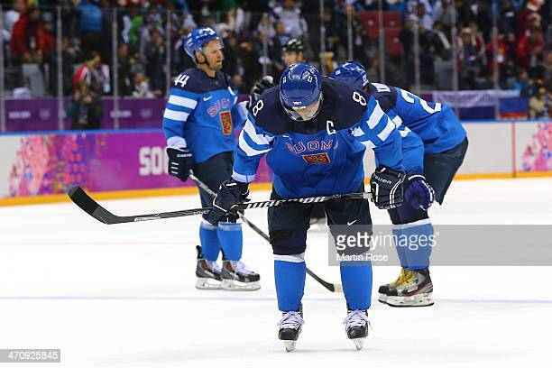Teemu Selanne of Finland looks down after losing to Sweden 21 during the Men's Ice Hockey Semifinal Playoff on Day 14 of the 2014 Sochi Winter...